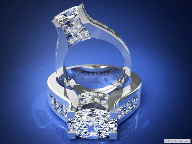 ES550-PRPL Modern Oval Diamond Engagement Ring with princess cut diamonds band in Platinum