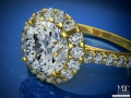 ES433 Round Diamond Halo Cathedral Engagement ring in Yellow Gold