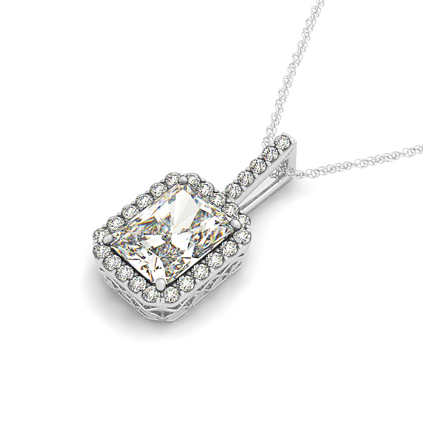 Radiant Filigree Halo Diamond Pendant 0.66ct