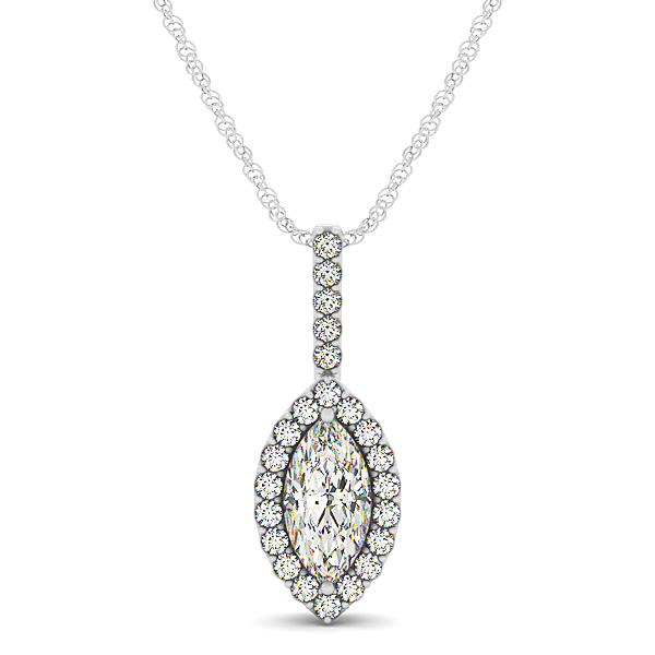Marquise Filigree Halo Diamond Pendant 0.67ct