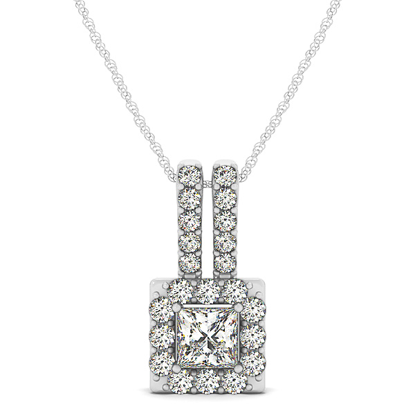 Princess Halo Diamond Pendant 1.2ct