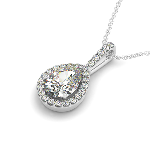 Pear Halo Diamond Pendant 0.62ct
