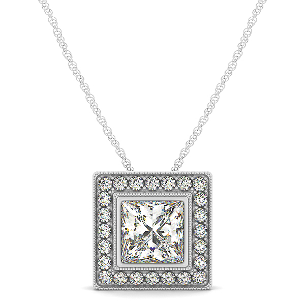 Vintage Bezel Princess Halo Diamond Pendant 1.49ct