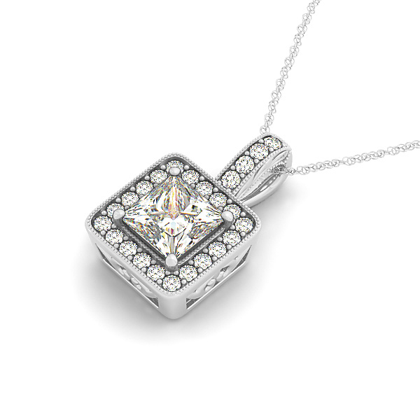 Vintage Filigree Princess Halo Diamond Pendant 0.95ct