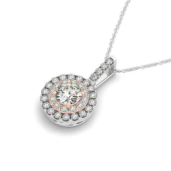 Two Tone Double Halo Diamond Pendant 0.33ct
