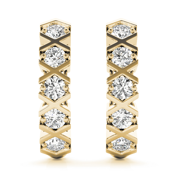 Diamond XO Hoop Earrings Yellow Gold