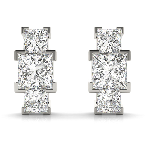 3 Stone Princess Diamond Earrings