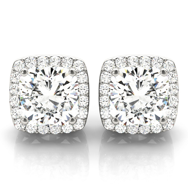 Filigree Cushion Halo Earring 1.24 ct.