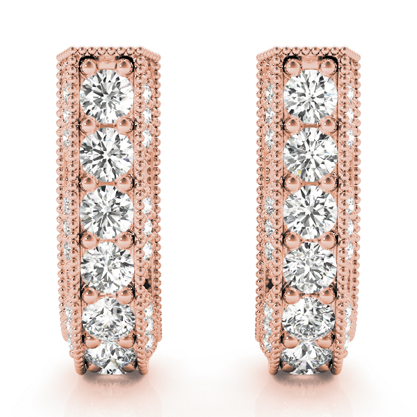 Vintage Style Diamond Hoops Rose Gold