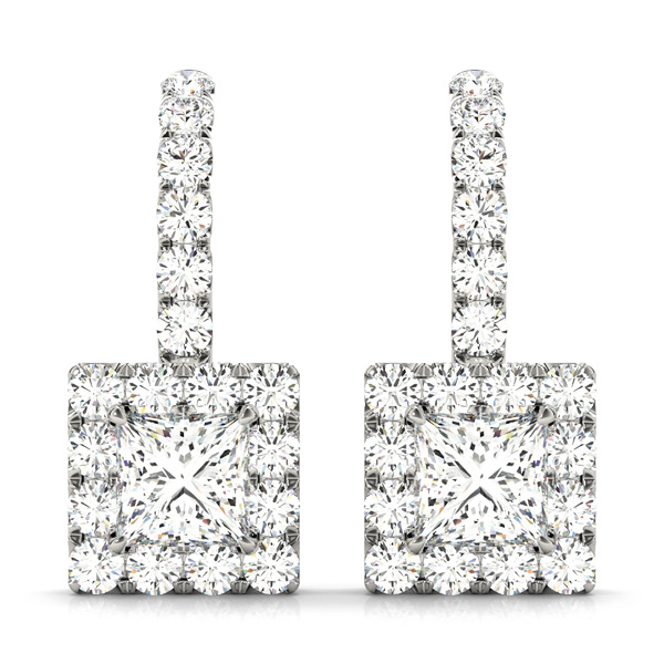 Princess Halo Drop Hoop Earring 0.28 ct.