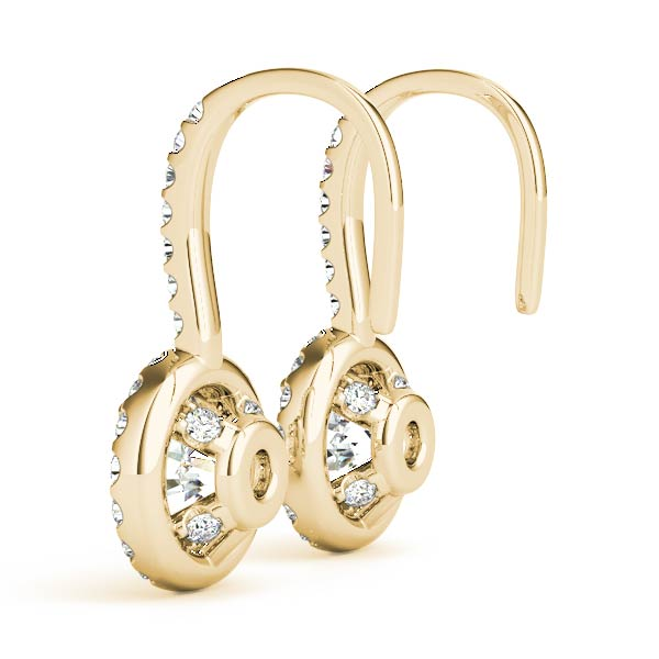 Drop Hoop Halo Diamond Earrings Yellow Gold 0.73 ct.