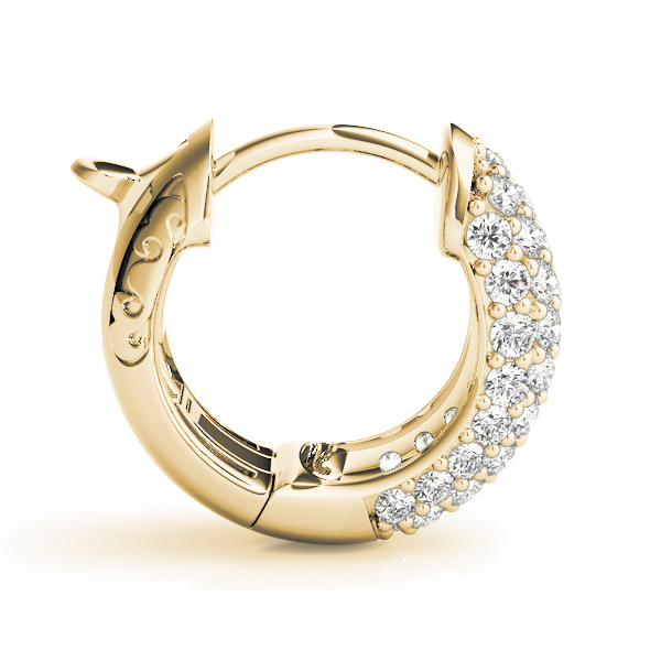 Five Row Dome Etoil Pave Diamond Hoop Huggie Earrings in Yellow Gold, 1/2