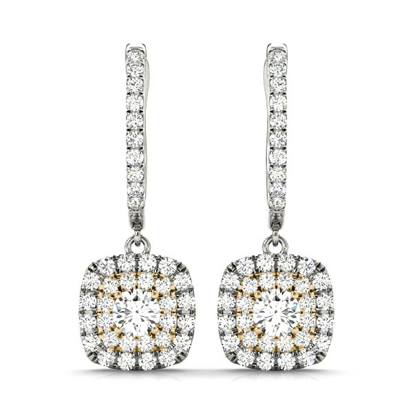 Cushion Halo Filigree Diamond Yellow Gold Earrings