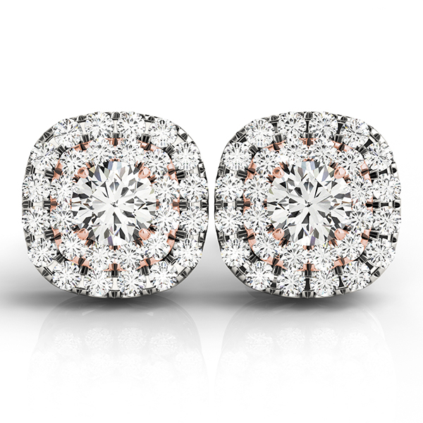 Cushion Shaped Double Halo Diamond Rose Gold Earring 1.36 ct.