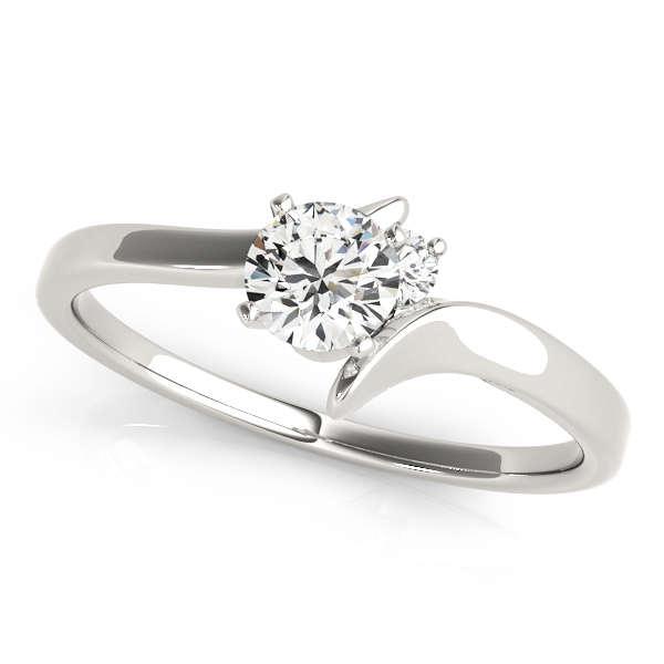 Two Diamond Swirl Engagement Ring