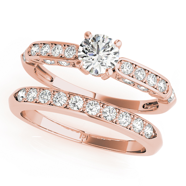 Victorian Diamond Bridal Set in Rose Gold