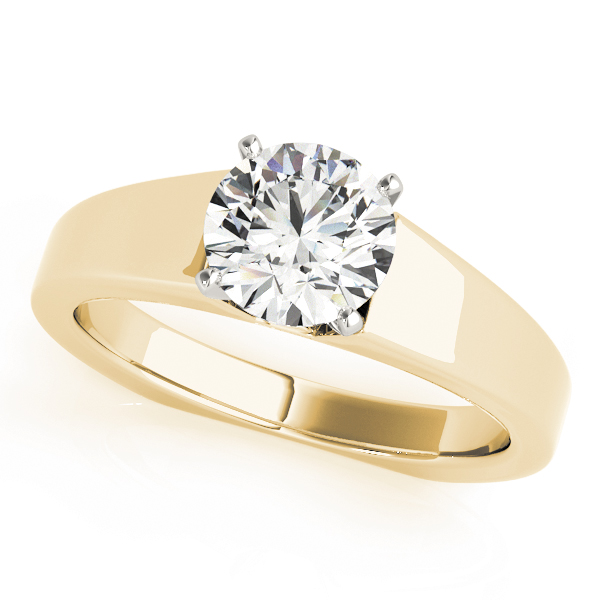 Solitaire Diamond Tapered Engagement Ring Yellow Gold