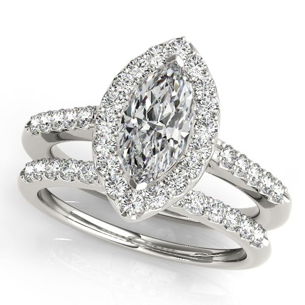 marquise diamond halo cathedral engagement ring pave band matching