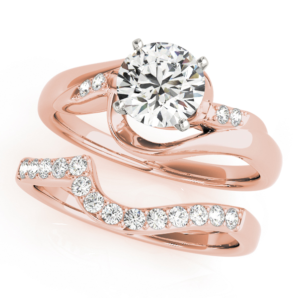 5 Diamond Swirl Diamond Bridal Set Rose Gold