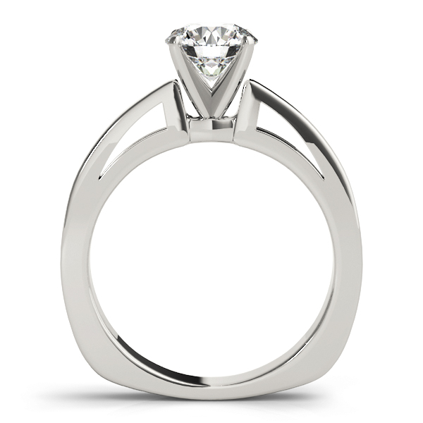Classic Cathedral Solitaire Engagement Ring with Square Band