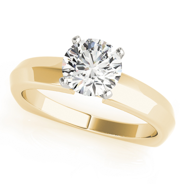 Classic Knife Edge Solitaire Engagement Ring with Square Band Yellow Gold