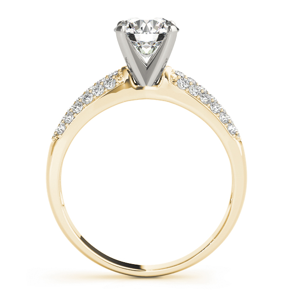 Graduated Etoil Triple Row Diamond Engagement Ring in Yellow Gold