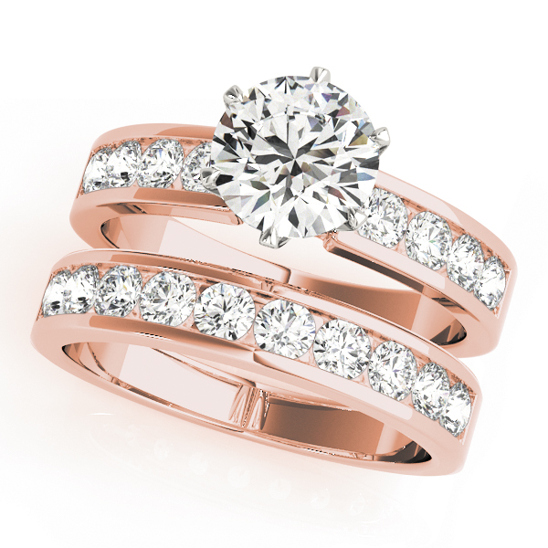 Solitaire Engagement Ring with Diamond Band, Rose Gold