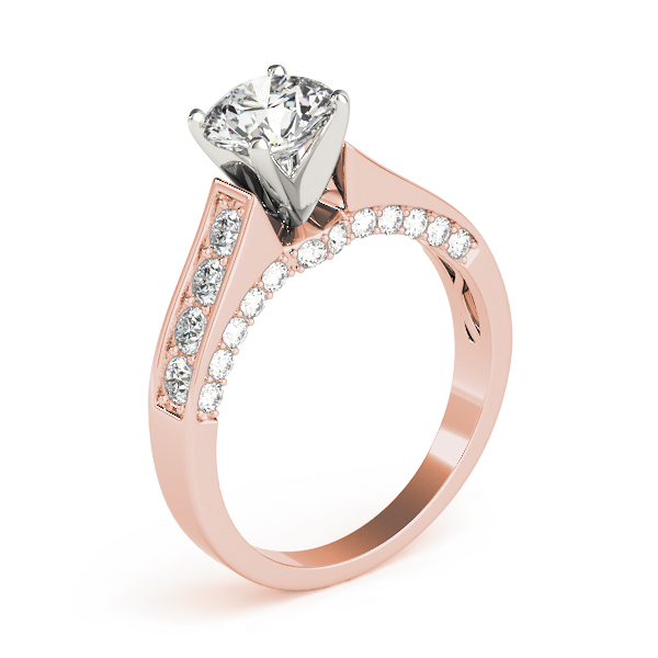 Cathedral Diamond Engagement Ring in Rose Gold