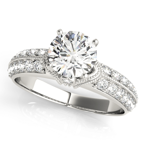 Knife Edge Diamond Engagement Ring with Milligrain