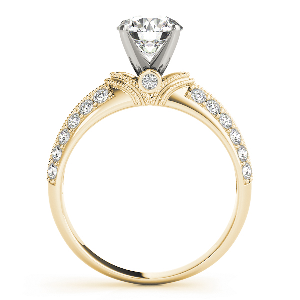 Knife Edge Diamond Engagement Ring with Milligrain in Yellow Gold