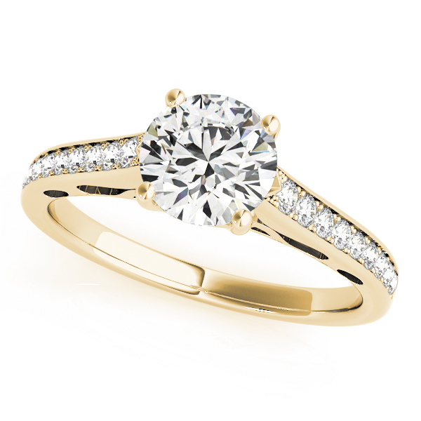 Classic Cathedral Diamond Engagement Ring with Filigree Design in Yellow Gold