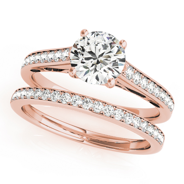 Classic Cathedral Diamond Bridal Set with Filigree Design in Rose Gold