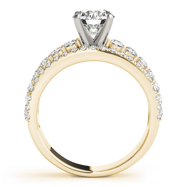 Triple Row Diamond Engagement Ring in Yellow Gold