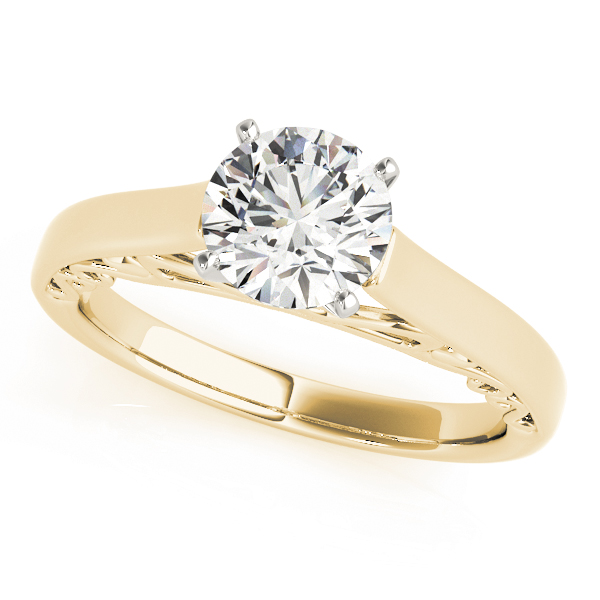 Cathedral  Filigree Solitaire Engagement Ring in Yellow Gold