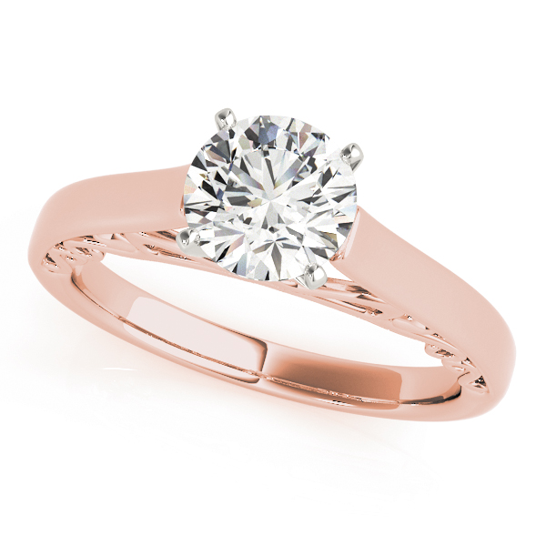 Cathedral  Filigree Solitaire Bridal Set in Rose Gold