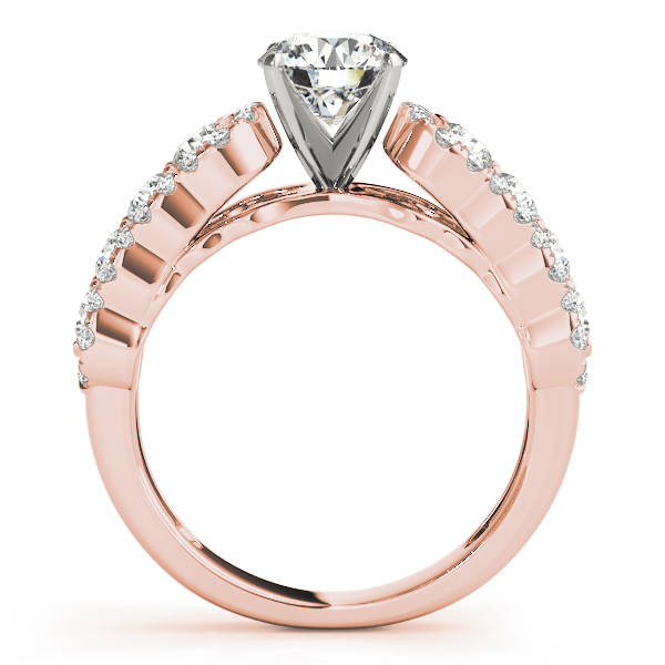 Wave Halo Diamond Bridal Set in Rose Gold