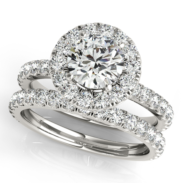 Diamond Halo Crown Engagement Ring & Wedding Band