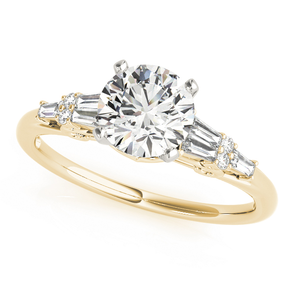 Round & Baguette Cut Diamond Engagement Ring in Yellow Gold