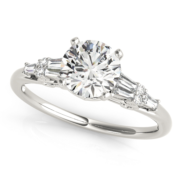 Round & Baguette Cut Diamond Engagement Ring