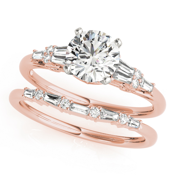 Round & Baguette Cut Diamond Bridal Set