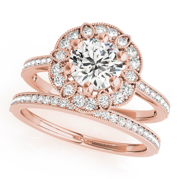 Floral Halo Cathedral Bridal Set in Rose Gold