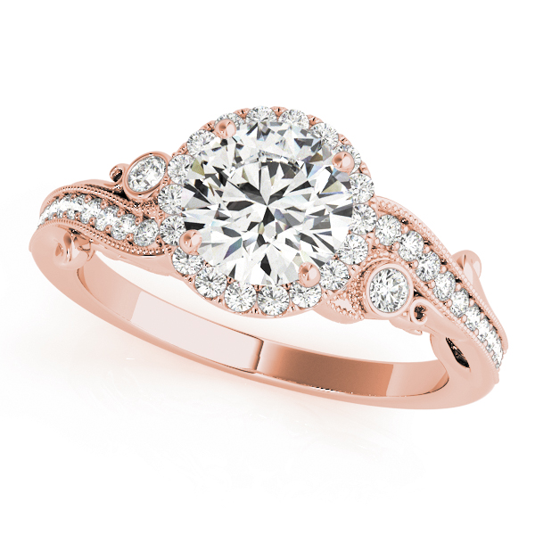 Halo Diamond Filigree Swirl Engagement Ring in Rose Gold