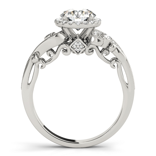 Halo Diamond Filigree Swirl Engagement Ring