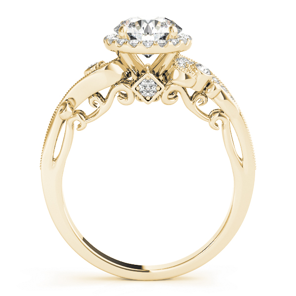 Halo Diamond Filigree Swirl Engagement Ring in Yellow Gold