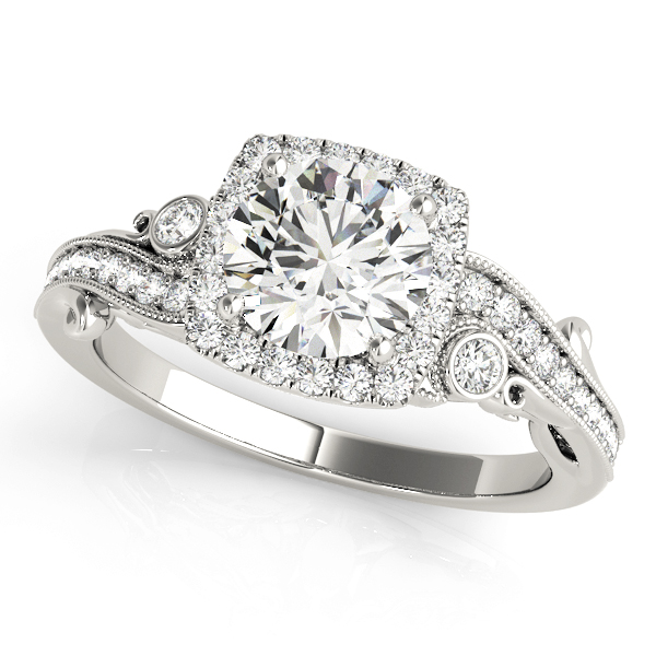 Square Halo Diamond Filigree Swirl Engagement Ring