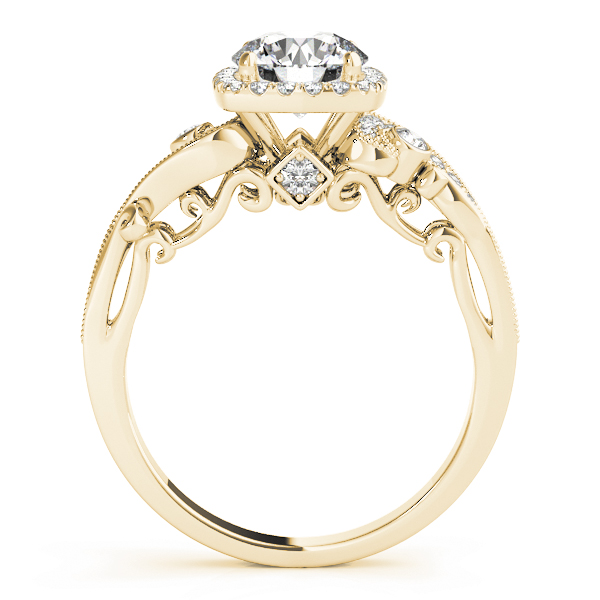 Square Halo Diamond Filigree Swirl Engagement Ring in Yellow Gold