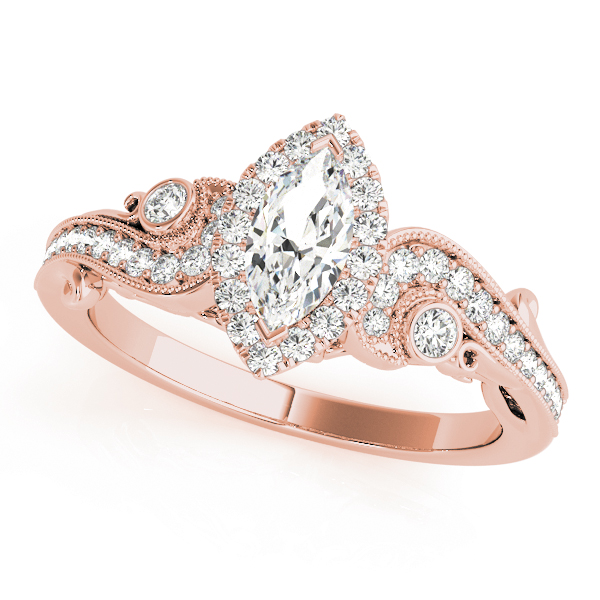 Marquise Halo Diamond Filigree Swirl Engagement Ring in Rose Gold