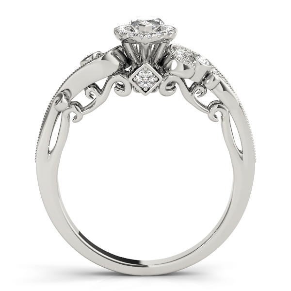 Marquise Halo Diamond Filigree Swirl Engagement Ring