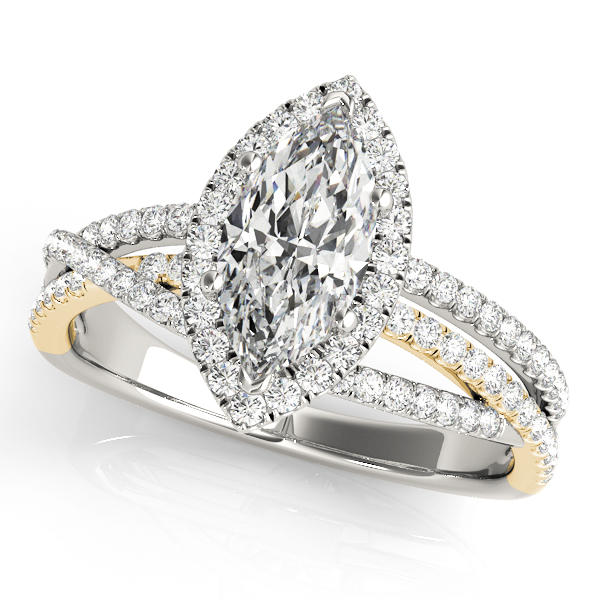 Mutli-Row Diamond Marquise Shape Halo Engagement Ring in Yellow & White Gold
