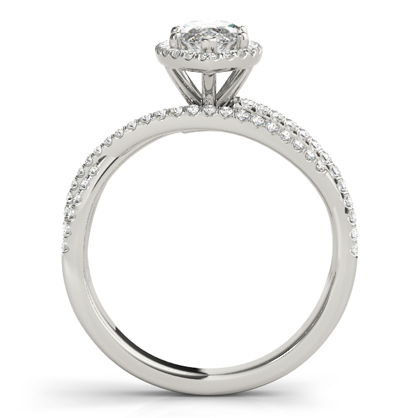 Mutli-Row Diamond Marquise Shape Halo Engagement Ring
